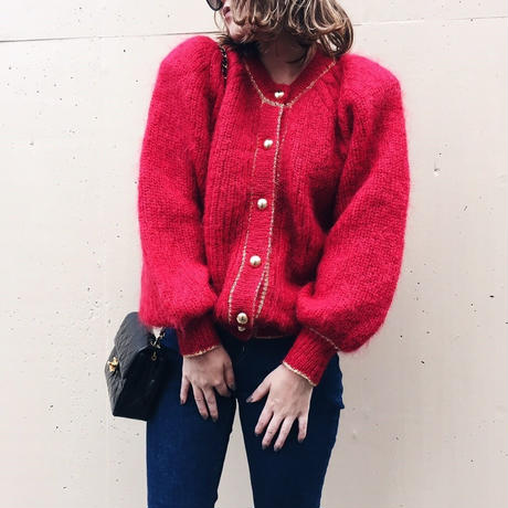 gold botton cardigan red