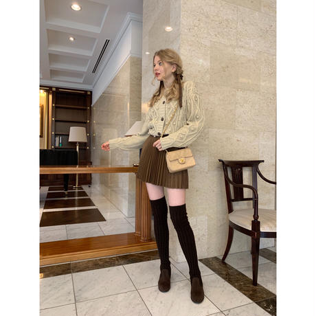 knit knee-high boots brown