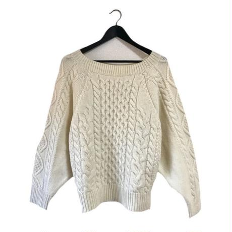 cable knit volume silhouette knit tops