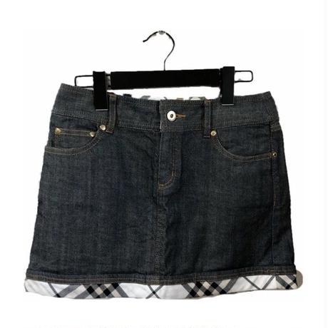 Burberry check design denim mini skirt
