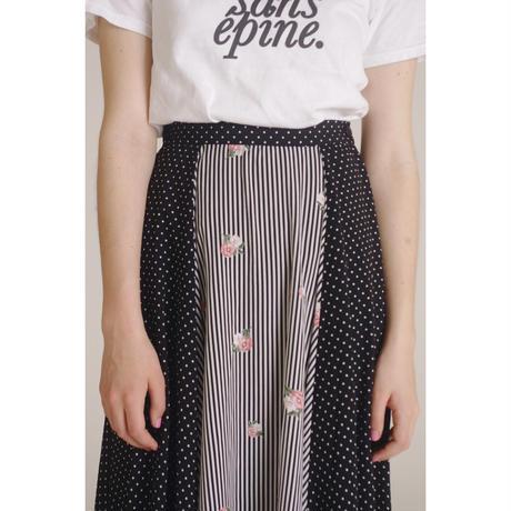 dot×stripe flower skirt