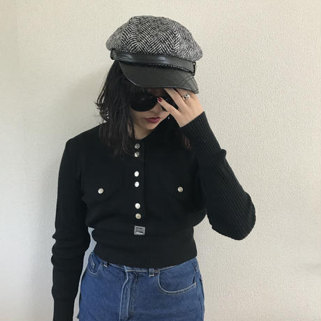 quilting leather tweed casquette