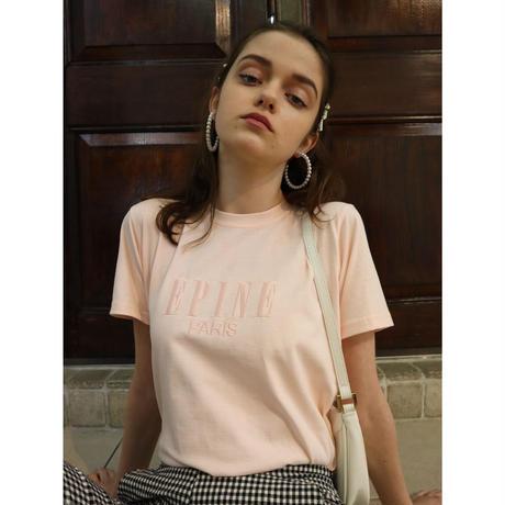ÉPINE PARIS embroidery tee pink×pink