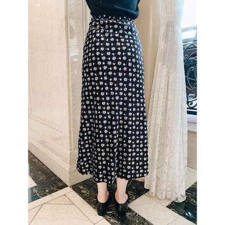 velours flower mermaid skirt  black