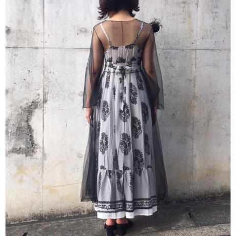see-through long gown black