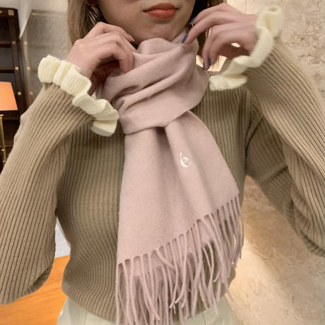 é embroidery logo wool muffler strawberry milk