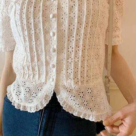 all lace frill blouse white