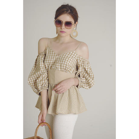 offshoulder gingham check blouse beige