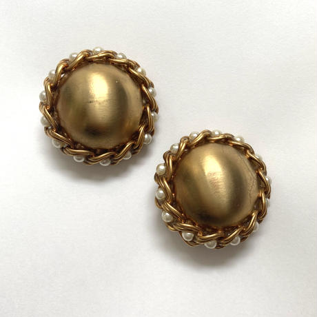 circle chain gold pearl vintage earring(No.3511)
