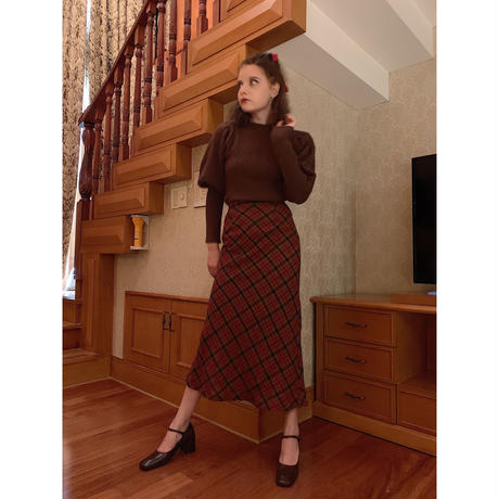 mermaid wool check skirt