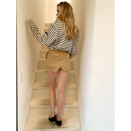 side slit velours short pants beige