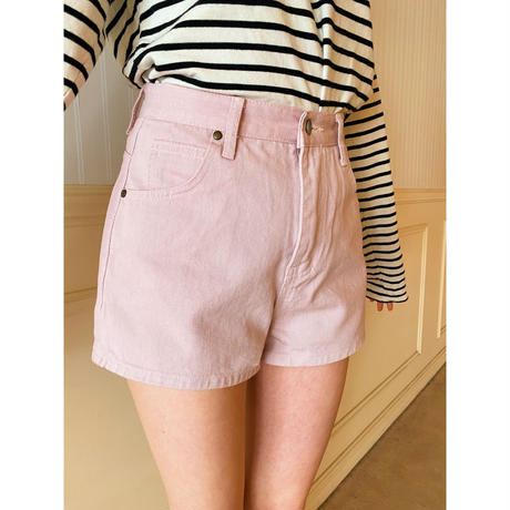 épine high-waist denim short pants  baby pink