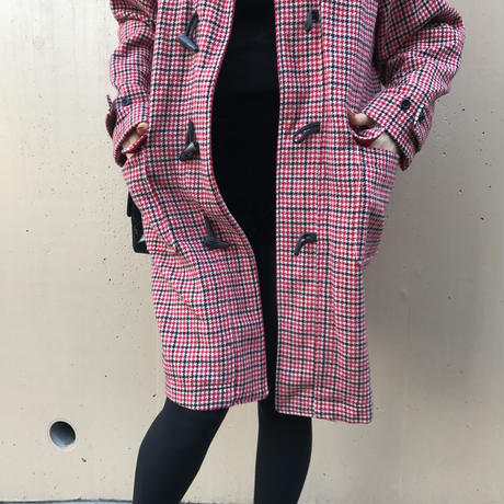 YSL logo check duffel coat