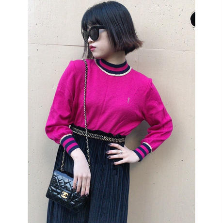 YSL logo design knit pink