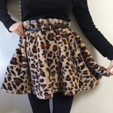 leopard fur mini skirt belt set