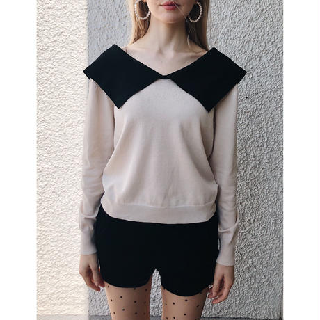 big collar bi-color summer knit beige