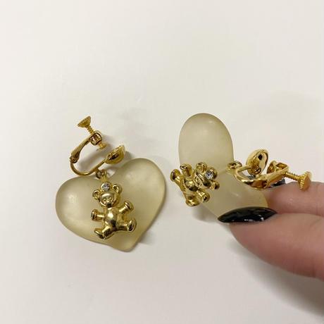 teddy bear motif  heart earring