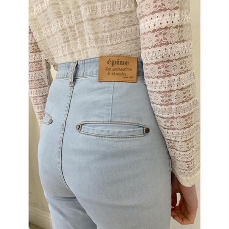 épine high-waist fit bell jeans high bleach blue