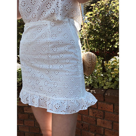 cotton  lace frill skirt
