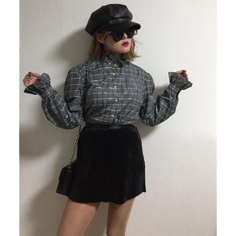 frill check blouse
