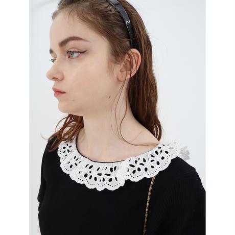 lace frill rib knit onepiece black