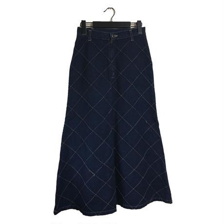 quilting design denim long skirt