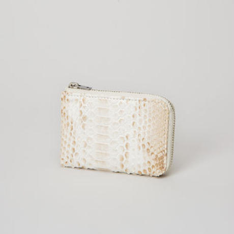 NATURAL PYTHON ZIPPED CARD CASE