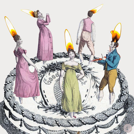 No.0057「Five candles 」5本のロウソク  aluminum flame