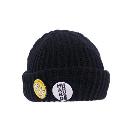BADGE KNIT CAP / BLACK