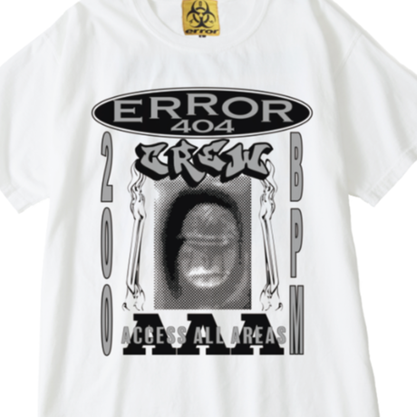 ERROR404 CREW AAA  T-SHIRT/ WHITE