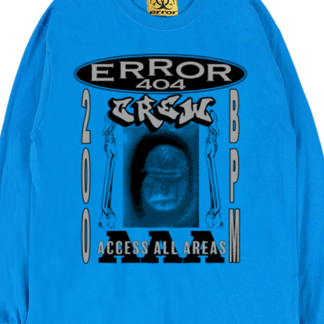 ERROR404 CREW AAA L/S TEE / BLUE
