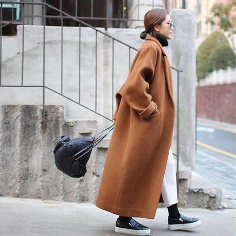【EruMon】オーバーエコウールコート ロングコート ゆったりサイズ チェスターコート