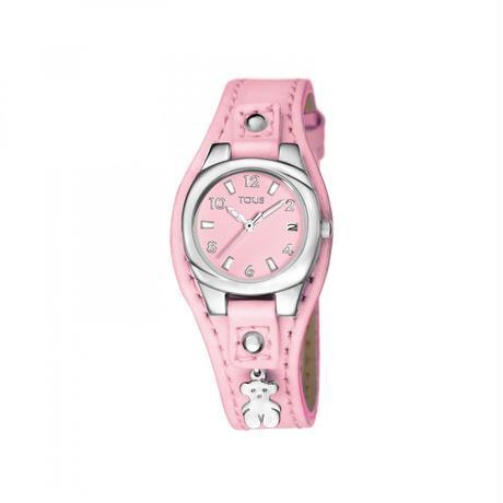 ピンクの革バンドが付いたステンレス腕時計 Lollipop(500351530)