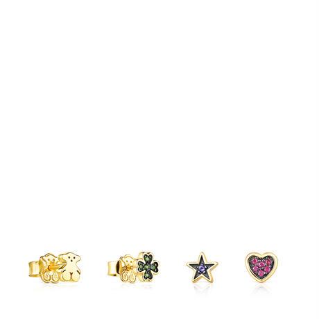 ピアス4点セット  Teddy Bear Star  4モチーフ  イエローゴールドコーティング 天然石【018073510】