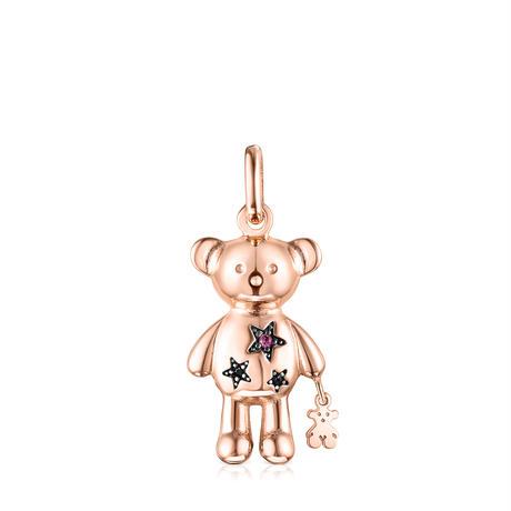 ペンダント  Teddy Bear Star  くま   ピンクゴールドコーティング ブラックスピネル・ルビー【018074660】