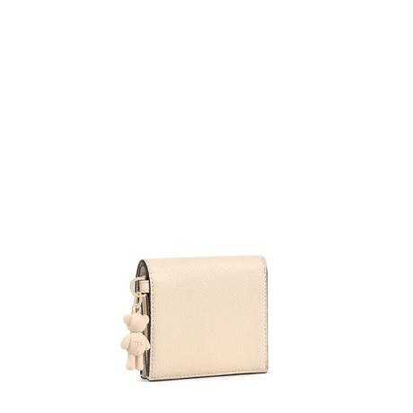 財布  T POP  くま  折り財布 合成皮革 ベージュ  【195960705】