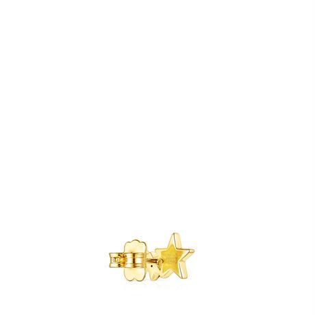 ピアス片耳  Teddy Bear Star  星  イエローゴールドコーティング マルチサファイア アイオライト・ルビー 【018073500】