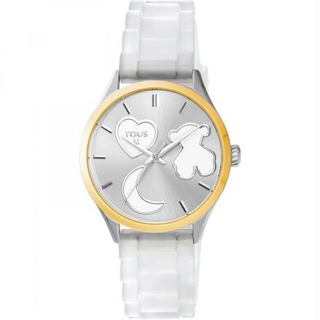 白いシリコンバンドが付いたステンレス IPゴールド腕時計 Sweet Power (800350750)