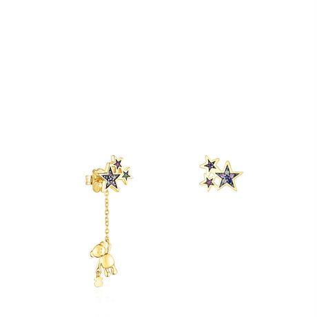 ピアス  Teddy Bear Star  くま・星   イエローゴールドコーティング 天然石 【018073530】