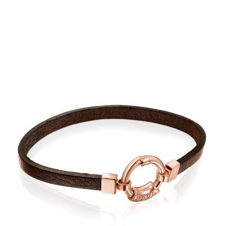 革ブレスレット PAPA ピンクゴールドコーティング / 牛革(914051510)