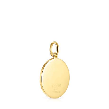 ペンダント Medallion Don't Worry 20mm イエローゴールドコーティング エナメル加工【918494550】