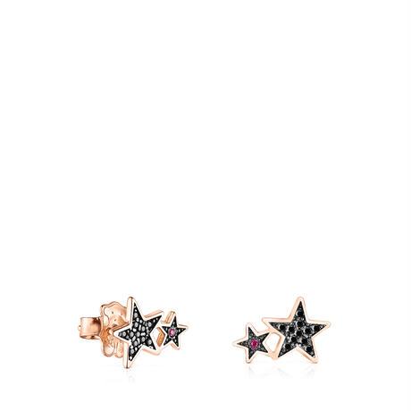 ピアス  Teddy Bear Star  星   ピンクゴールドコーティング ブラックスピネル・ルビー【018073550】