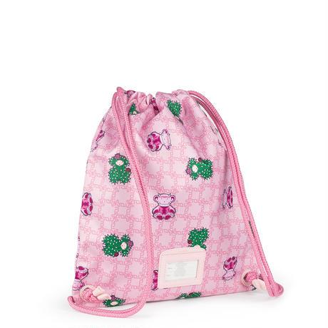 リュック School  S 巾着 ポリエステル ピンク モンスターくま柄【095891529】