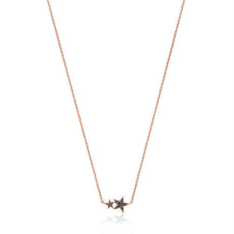 ネックレス  Teddy Bear Star  星   ピンクゴールドコーティング ブラックスピネル・ルビー【018072510】