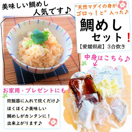 〚愛媛県産〛身がゴロっと 天然マダイの鯛めしセット!【3合炊き】