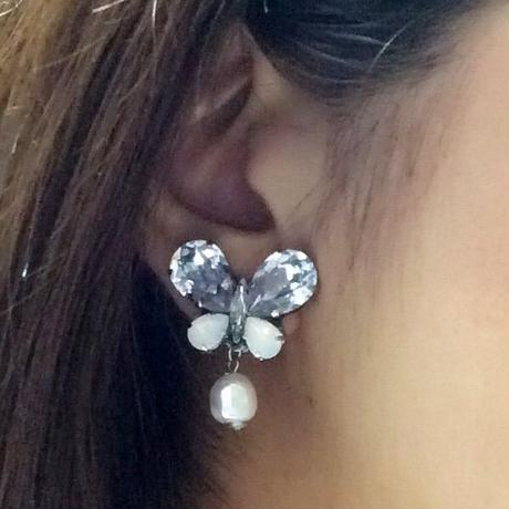 〜smokymauve&white butterfly〜イヤリング&ピアス