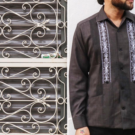 "SIZE32[ESG-01LP-HB]  L/S GUAYABERA ""REJILLADA CIPRE""  HEATHER  BLACK × WHITE"