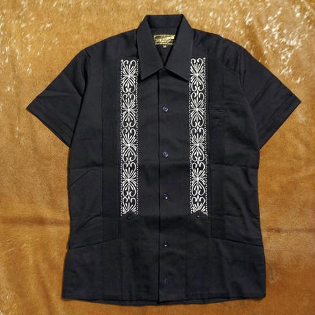 "[ESG-2PL1-01S-NW]  S/S GUAYABERA FOR TWO PIECE ""REJILLADA "" NAVY x WHITE"
