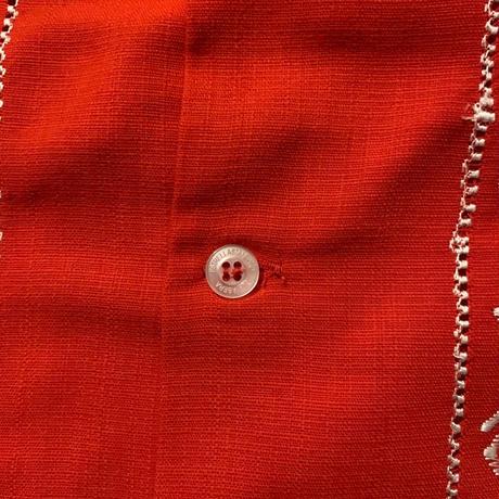 "[ESG-01L-RW]  L/S GUAYABERA ""REJILLADA "" RED x WHITE"