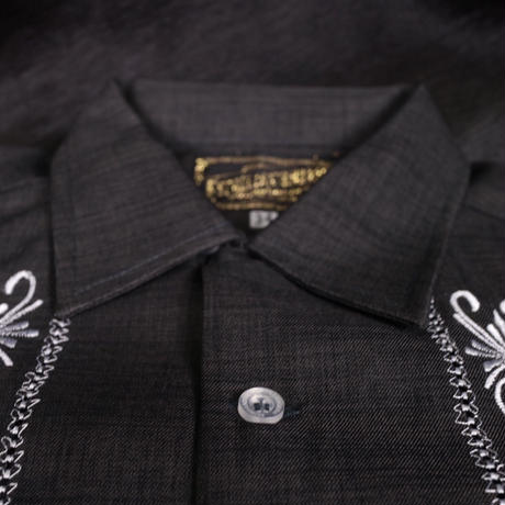 "[ESG-01SP-HBW] S/S GUAYABERA ""REJILLADA CIPRE""  HEATHER BLACK × WHITE"